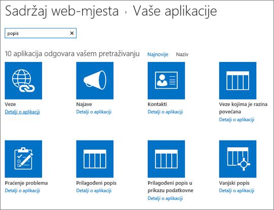 Popis aplikacija na stranici sadržaj web-mjesta