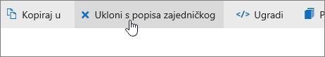 Snimka zaslona na kojoj se prikazuje gumb Ukloni sa zajedničkog popisa na servisu OneDrive.com.