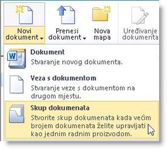 naredba skup dokumenata na izborniku novi dokument