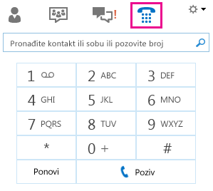 Snimka zaslona na kojoj je prikazana tipkovnica za pozivanje kontakta