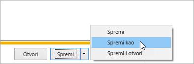 Snimka zaslona s gumbom Spremi kao