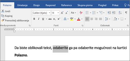Word - mogućnosti oblikovanja teksta na vrpci