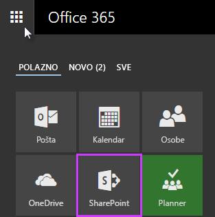 Snimka zaslona s pokretačem aplikacija u sustavu SharePoint Server 2016