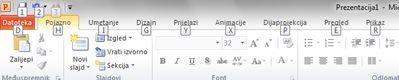 Tipke tipkovnih prečaca na kartici Datoteka