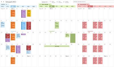 Primjer usporednog prikaza tri kalendara