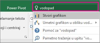 Okvir vođenja kroz kontrole s tekstom i rezultatima u obliku vodopada u programu Excel 2016 za Windows