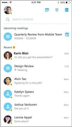 Početni zaslon programa Skype za tvrtke za iOS