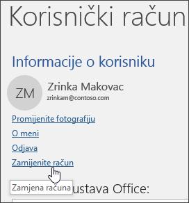 Snimka zaslona koja prikazuje mijenjanje računa u informacijama o računu