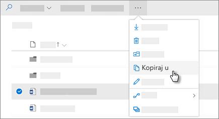 Snimka zaslona Kopiraj naredbi u servisu OneDrive za tvrtke