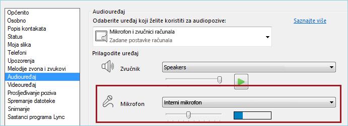 Snimka zaslona provjere zvuka mikrofona u programu Lync