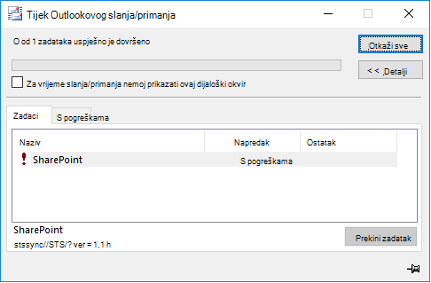 Pogreška u sustavu SharePoint stssync