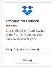 Snimka zaslona pločice dodatka Dropbox za Outlook koji je dostupan besplatno.