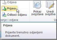 Vrpca sustava SharePoint s pokazivačem koji pokazuje na ikonu Prijavi