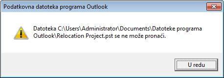 dijaloški okvir s porukom koja kaže da nema podatkovne datoteke programa outlook (.pst)