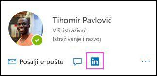 Prikaz ikone servisa LinkedIn na kartici profila