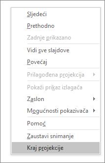 Pokazuje mogućnost završetka dijaprojekcije u aplikaciji PowerPoint
