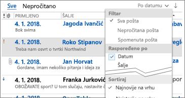 Popis dostupnih filtara za sortiranje poruka