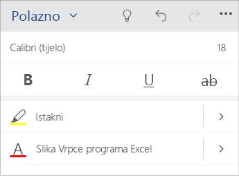 Snimka zaslona izbornika za oblikovanje teksta u programu Word Mobile.