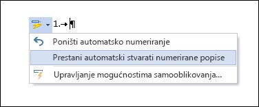 U samoispravku su prikazane mogućnosti numeriranja.