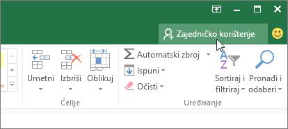 Pokazivač pri kliku na ikonu zajedničko korištenje