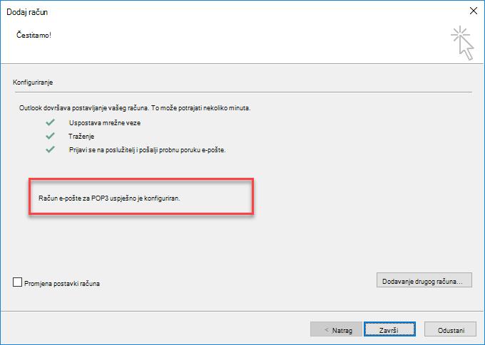Dodavanje računa kao POP-a u programu Outlook