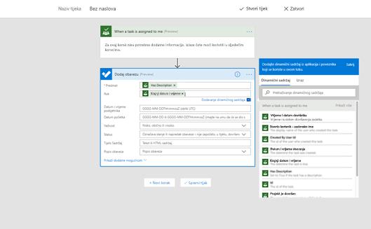 Snimka zaslona na kojoj se prikazuje mogućnost za dodavanje dinamičnog sadržaja
