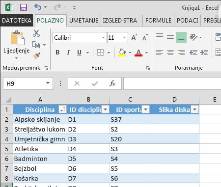 proširivanje tablice u programu Excel