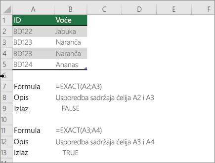 Primjer korištenjem funkcije EXACT za usporedbu jednu ćeliju na drugu