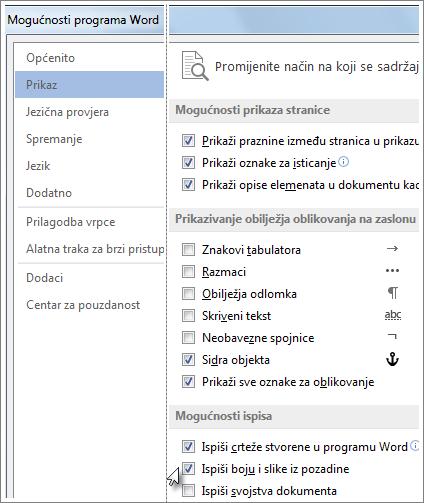 Potvrdni okvir Ispiši boju i slike iz pozadine u dijaloškom okviru s mogućnostima u programu Word