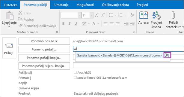 Snimka zaslona prikazuje mogućnost Pošalji ponovno za poruku e-pošte. U polju Pošalji ponovno značajka automatskog ispunjavanja navodi adresu e-pošte primatelja na temelju upisanih prvih nekoliko slova primateljeva imena.
