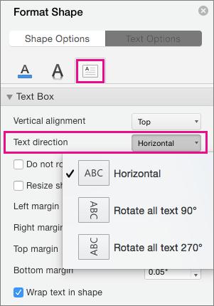 Smjer teksta istaknut je u oknu oblikovanje oblika.