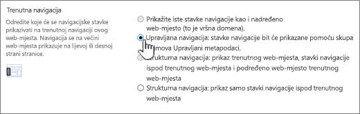 Trenutne sekcije navigacije s upravljanu navigaciju odabrana