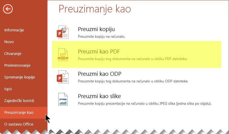 Odaberite Datoteka > Preuzmi kao > Preuzmi kao PDF