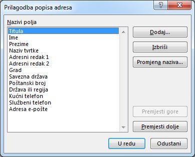 Prilagodba dijaloškog okvira popisa adresa