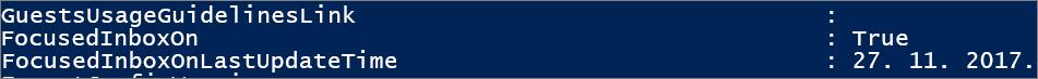 Odgovor iz komponente PowerShell o stanju fokusirane ulazne pošte.