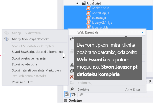 Snimka zaslona s prikazom mogućnosti izbornika na servisu Web Essentials
