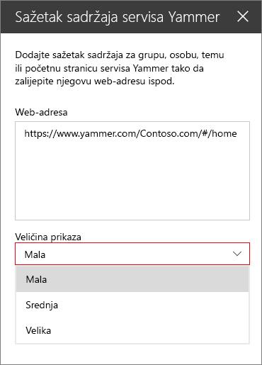 Okvir za adresu web sažetka sadržaja servisa Yammer
