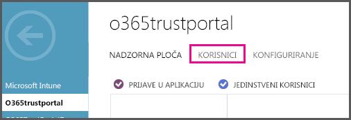 Prikazuje izbornik Azure AD s istaknutom stavkom KORISNICI.