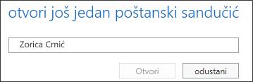 Dijaloški okvir Otvaranje drugog poštanskog sandučića u web-aplikaciji Outlook Web App