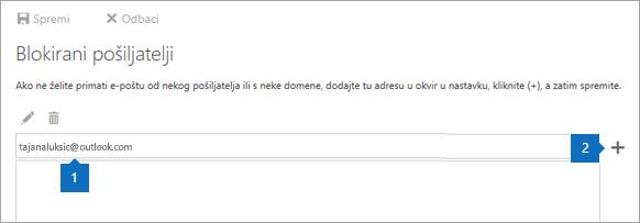Snimka zaslona stranice Blokirani pošiljatelji.