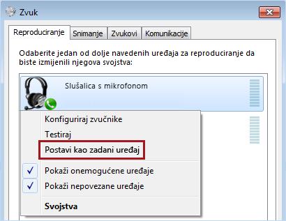 Postavljanje uređaja kao zadanog u sustavu Windows