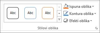 Grupa Stilovi oblika u programu PowerPoint