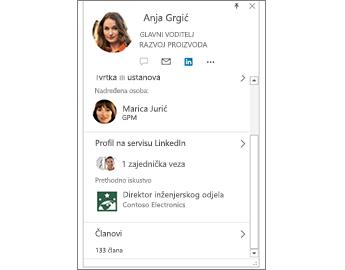 Kartica kontakta s podacima sa servisa LinkedIn