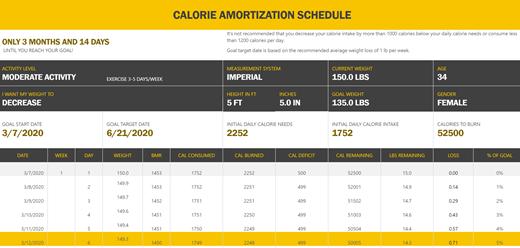 Snimka zaslona s predloškom rasporeda za amortizaciju kalorija