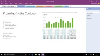 Bilježnica programa OneNote sa stranicom Contoso Project s prikazom popisa obaveza i trakastim grafikonom mjesečnih troškova.