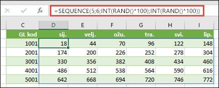 Primjer funkcije SEQUENCE ugniježđene s funkcijama INT i RAND radi stvaranja oglednog skupa podataka
