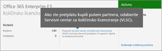 Veza na uslužni centar za količinsko licenciranje (VLSC).