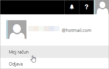 Snimka zaslona koja prikazuje odabir mogućnosti Moj račun na padajućem izborniku