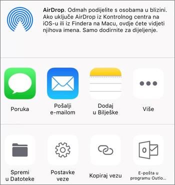 Snimka zaslona gumba za spremanje fotografija u aplikaciji OneDrive u sustavu iOS