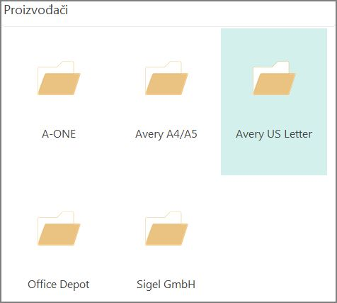 Predlošci dopisnica za konkretne proizvođače dopisnica, na primjer, Avery.